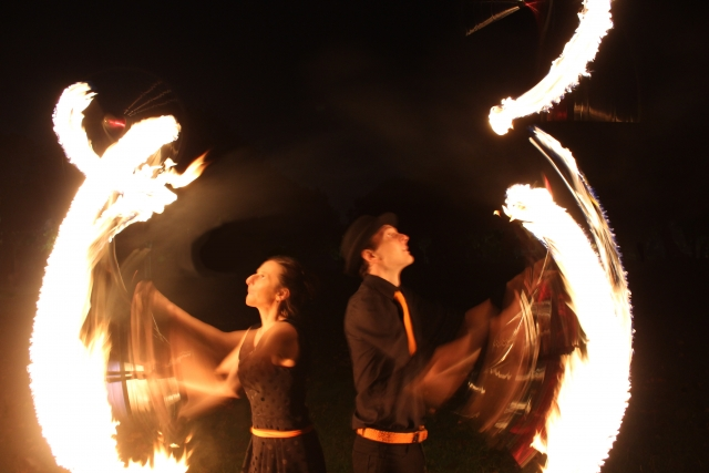 Fire juggling, Fire performers, Ben and Fred,